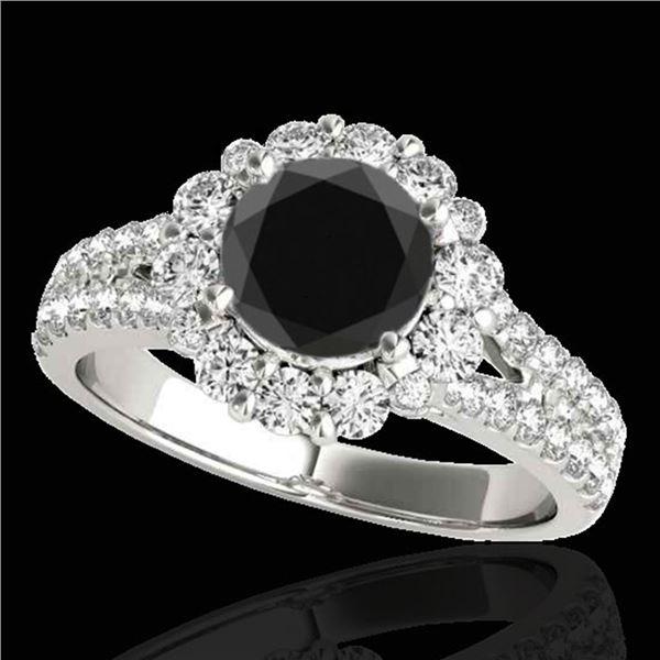 2.51 ctw Certified VS Black Diamond Solitaire Halo Ring 10k White Gold - REF-92M8G
