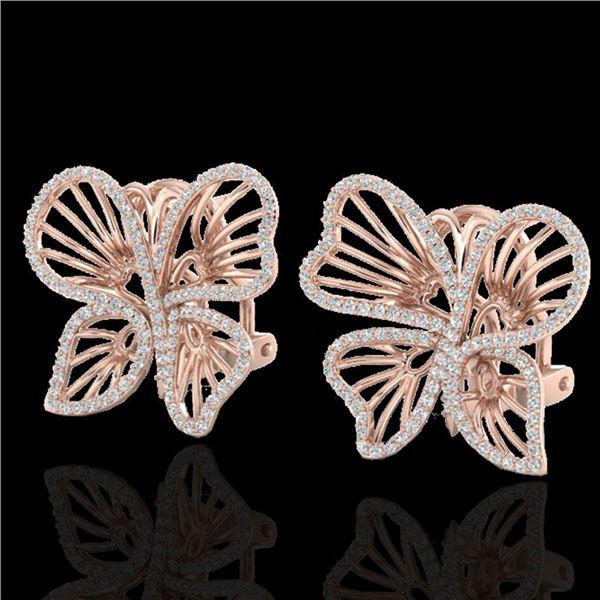 1.25 ctw Designer Micro Butterfly VS/SI Diamond Earrings 14k Rose Gold - REF-141R8K