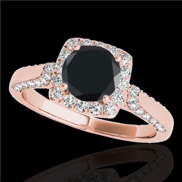 1.7 ctw Certified Black Diamond Solitaire Halo Ring 10k Rose Gold - REF-66W8H