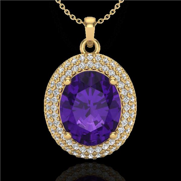 4 ctw Amethyst & Micro Pave VS/SI Diamond Necklace 18k Yellow Gold - REF-91W8H