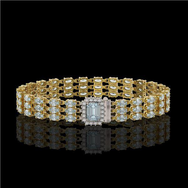 21.86 ctw Aquamarine & Diamond Bracelet 14K Yellow Gold - REF-318H2R