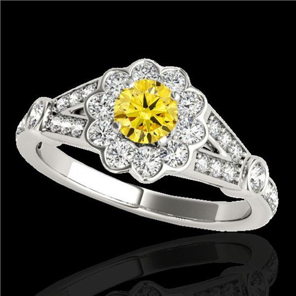 1.9 ctw Certified SI/I Fancy Intense Yellow Diamond Ring 10k White Gold - REF-231F8M