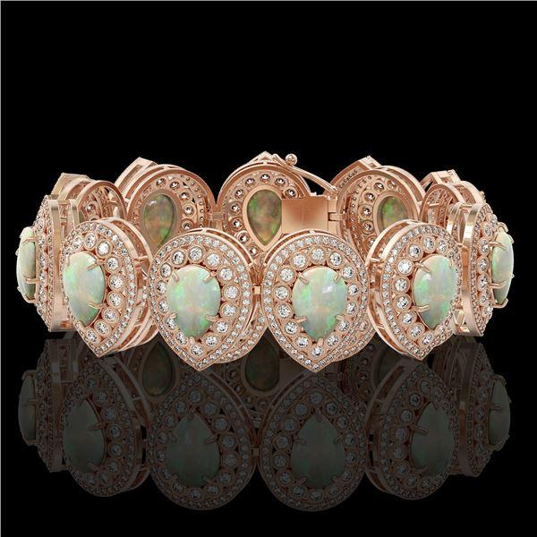 46.44 ctw Certified Opal & Diamond Victorian Bracelet 14K Rose Gold - REF-1468G4W