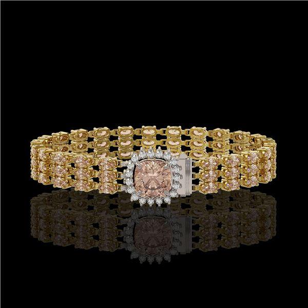27.48 ctw Morganite & Diamond Bracelet 14K Yellow Gold - REF-402N9F