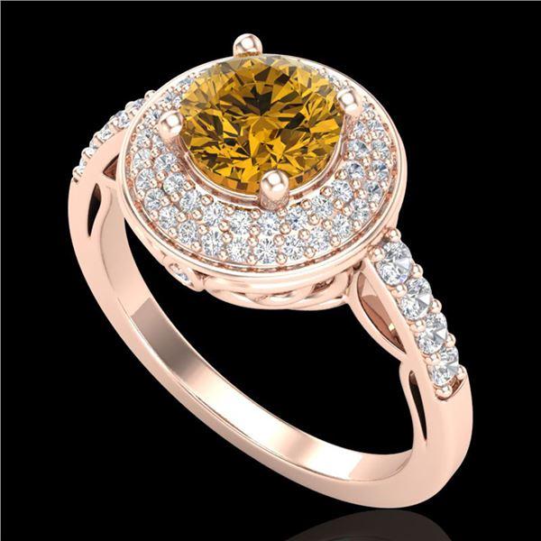 1.7 ctw Intense Fancy Yellow Diamond Art Deco Ring 18k Rose Gold - REF-309F3M