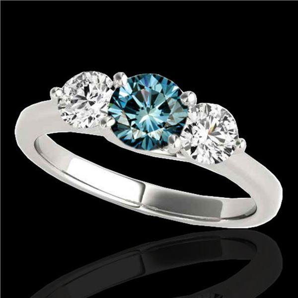 3 ctw SI Certified Fancy Blue Diamond 3 Stone Ring 10k White Gold - REF-395A5N