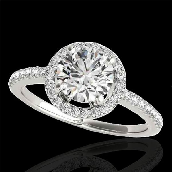 1.4 ctw Certified Diamond Solitaire Halo Ring 10k White Gold - REF-190W9H