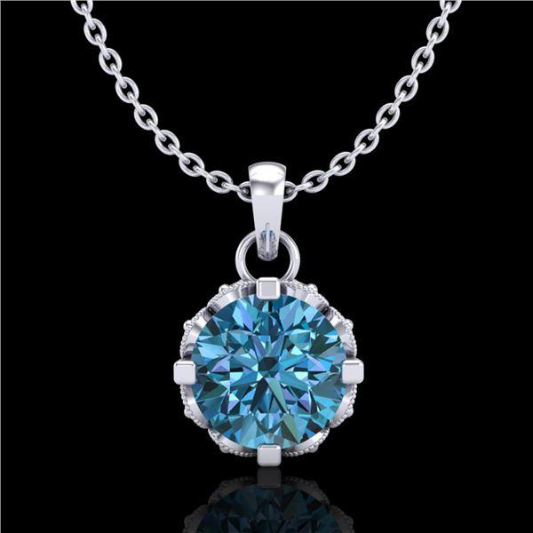 0.85 ctw Fancy Intense Blue Diamond Art Deco Necklace 18k White Gold - REF-90Y9X