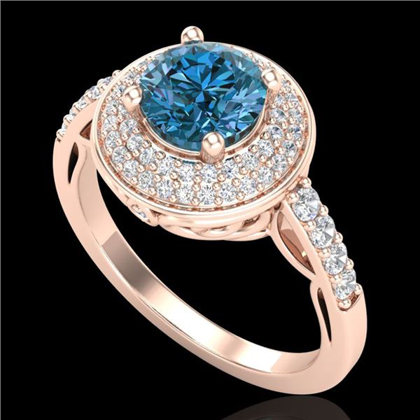 1.7 ctw Intense Blue Diamond Engagment Art Deco Ring 18k Rose Gold - REF-236W4H