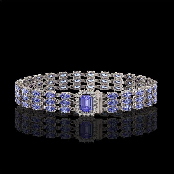 24.18 ctw Tanzanite & Diamond Bracelet 14K White Gold - REF-318A2N