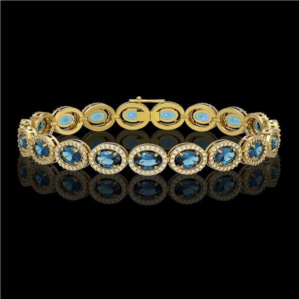 14.82 ctw London Topaz & Diamond Micro Pave Halo Bracelet 10k Yellow Gold - REF-263X6A