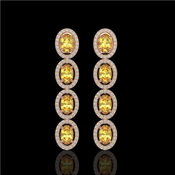 5.4 ctw Fancy Citrine & Diamond Micro Pave Halo Earrings 10k Rose Gold - REF-143A6N