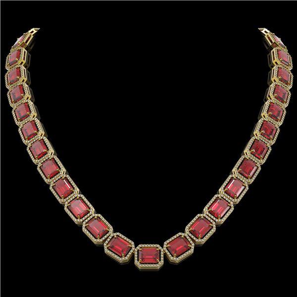 80.32 ctw Tourmaline & Diamond Micro Pave Halo Necklace 10k Yellow Gold - REF-1178H4R