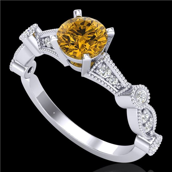 1.03 ctw Intense Fancy Yellow Diamond Art Deco Ring 18k White Gold - REF-154F5M