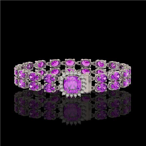 14.31 ctw Amethyst & Diamond Bracelet 14K White Gold - REF-178N2F