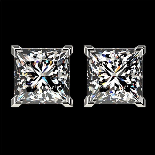 2.50 ctw VS/SI Quality Princess Diamond Stud Earrings 10k White Gold - REF-601M4G