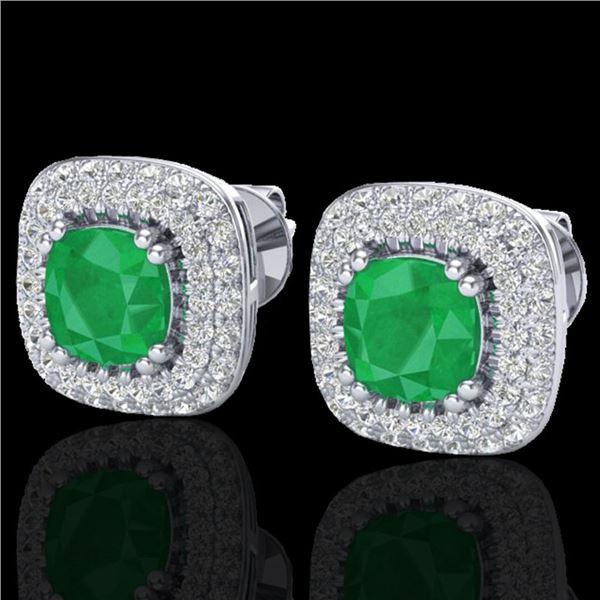 2.16 ctw Emerald & Micro VS/SI Diamond Earrings Halo 18k White Gold - REF-105N6F