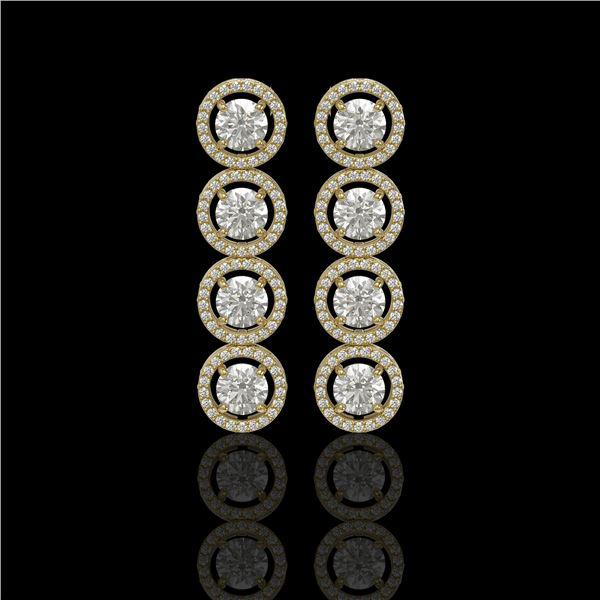 5.36 ctw Diamond Micro Pave Earrings 18K Yellow Gold - REF-631H6R