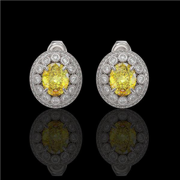 7.24 ctw Canary Citrine & Diamond Victorian Earrings 14K White Gold - REF-188H2R