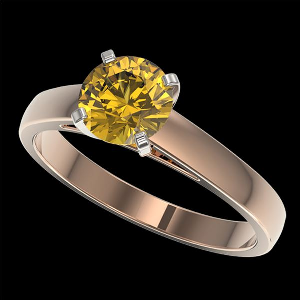 1.25 ctw Certified Intense Yellow Diamond Solitaire Ring 10k Rose Gold - REF-208K6Y