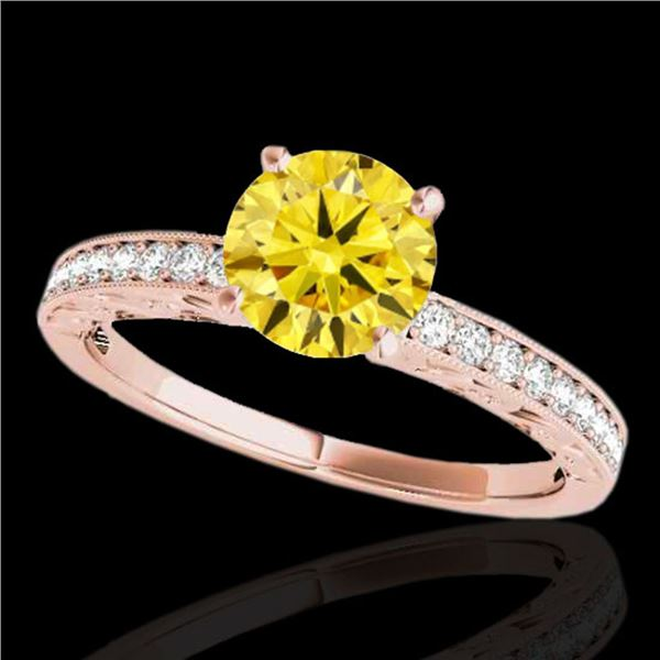 1.18 ctw Certified SI Intense Yellow Diamond Antique Ring 10k Rose Gold - REF-190K9Y