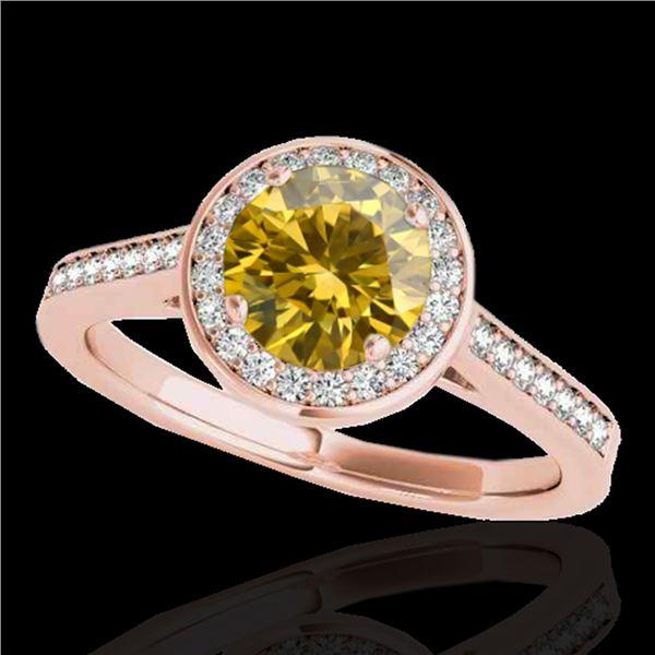 1.33 ctw Certified SI/I Fancy Intense Yellow Diamond Ring 10k Rose Gold - REF-190K9Y