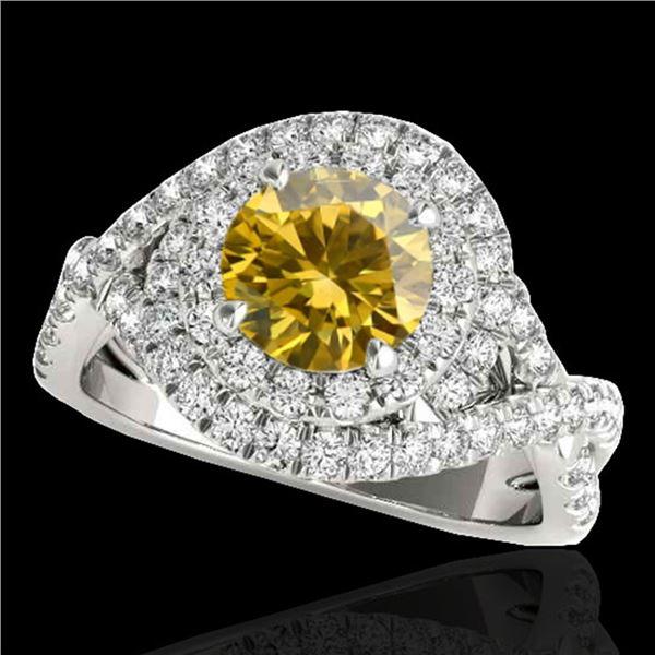 2 ctw Certified SI/I Fancy Intense Yellow Diamond Halo Ring 10k White Gold - REF-259M3G