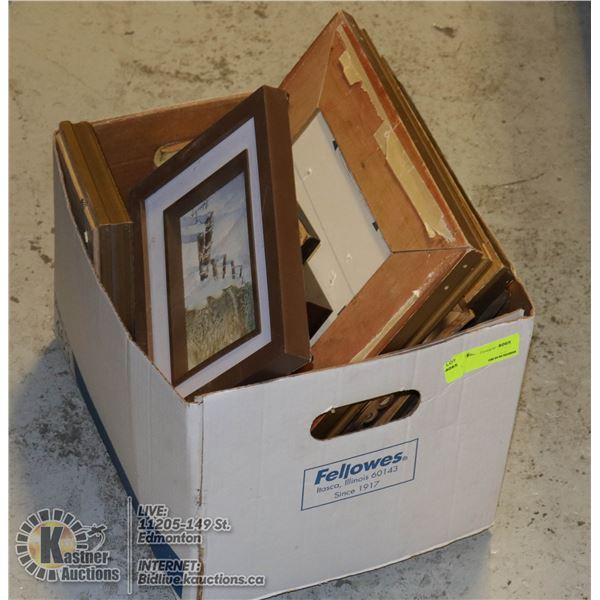 BOX OF VINTAGE WALL ART