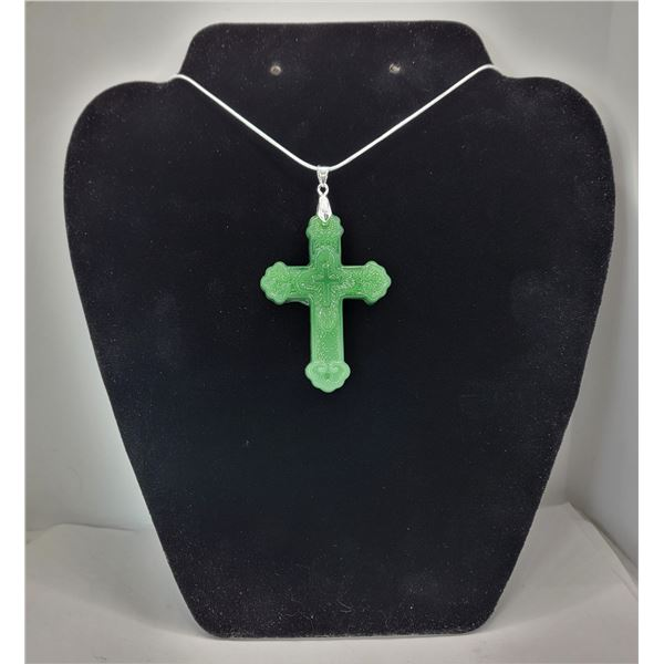 10)  CARVED GREEN LAB CREATED JADE CROSS ON