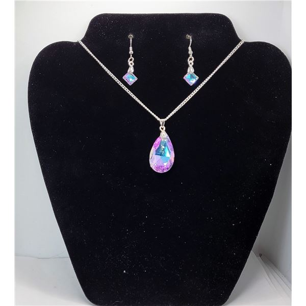 27)  TEAR DROP BLUE/PINK TITANIUM CRYSTAL