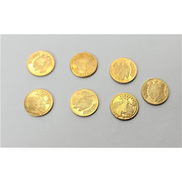 20)  LOT OF 7 24CT GOLD PLATED ST. GAUDIN MINI