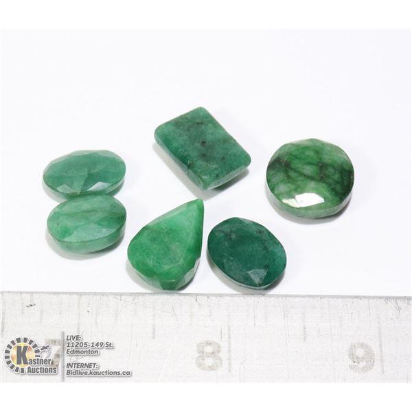 #101-GREEN EMERALD GEMSTONES 61.55ct