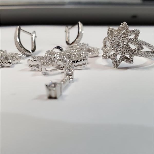 SILVER CUBIC ZIRCONIA EARRING,PENDENT,RING SET
