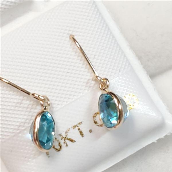 10K YELLOW GOLD RARE BLUE ZIRCON(1.7CT) EARRINGS