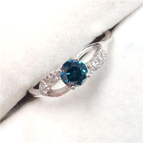 10K WHITE GOLD BLUE DIAMOND(0.45CT,I2) DIAMOND