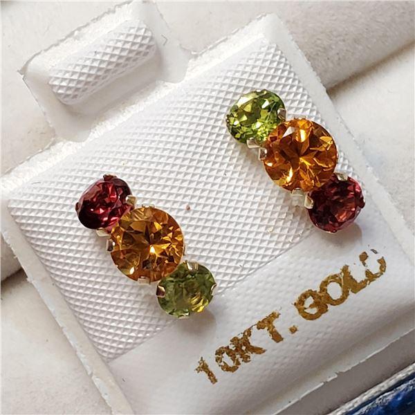 10K YELLOW GOLD EMERALD,RUBY,CITRINE  EARRINGS