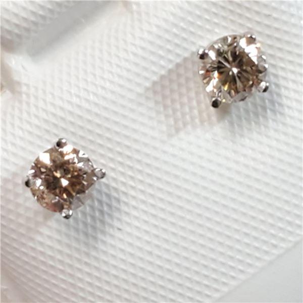 14K WHITE GOLD DIAMOND(0.42CT,SI2-I2,J-K) EARRINGS