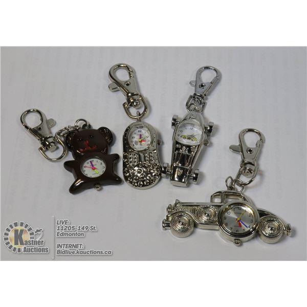 SET OF 4 MINI KEYCHAIN CLOCKS