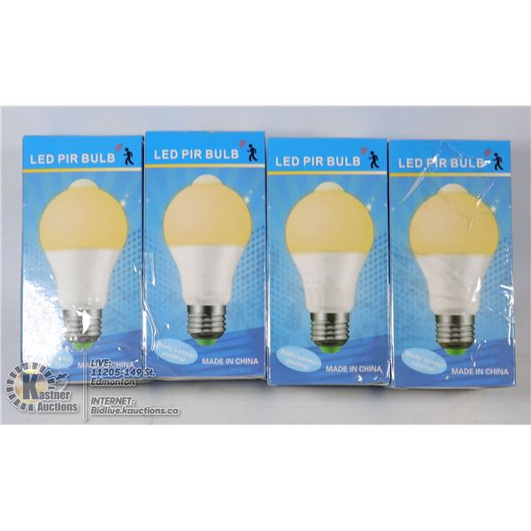 LOT OF 4 LED PIR BULBS