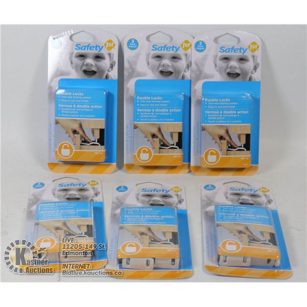 CASE OF 6 NEW SAFETY FIRST DOUBLE LOCKS FOR DRAWER