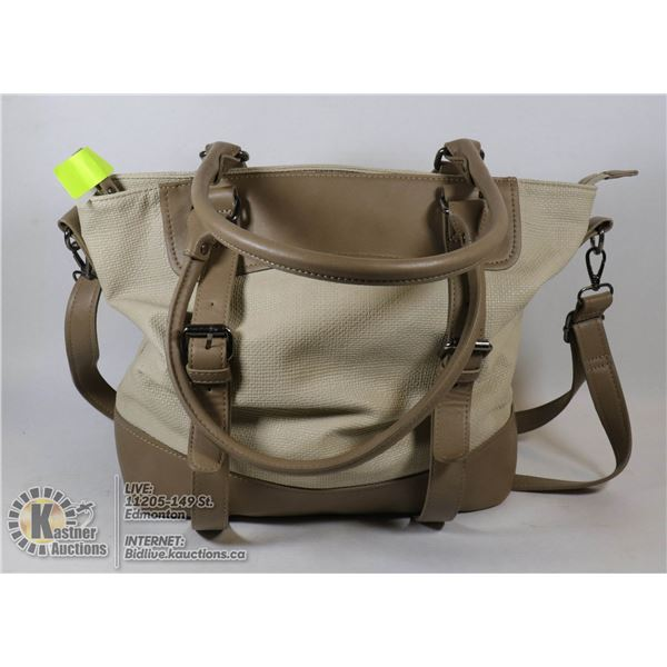LADIES TOTE BAG, ALMOND & TAUPE COLOR
