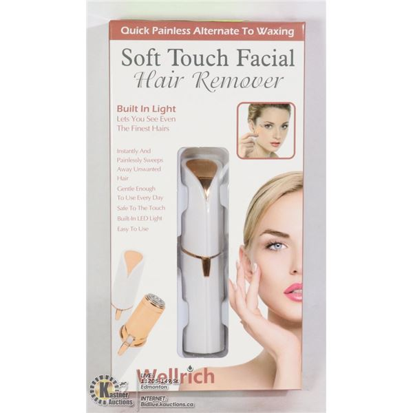 NEW SOFT TOUCH FACIAL HAIR REMOVER WITH BUILT IN