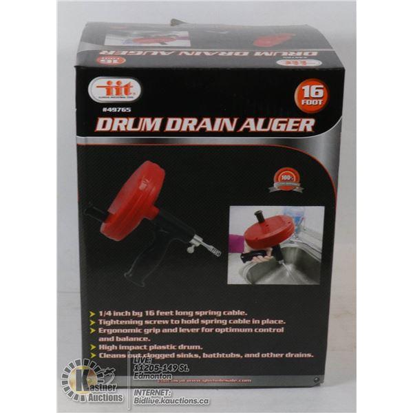 "NEW 1/4"" X 16' DRUM DRAIN AUGER"