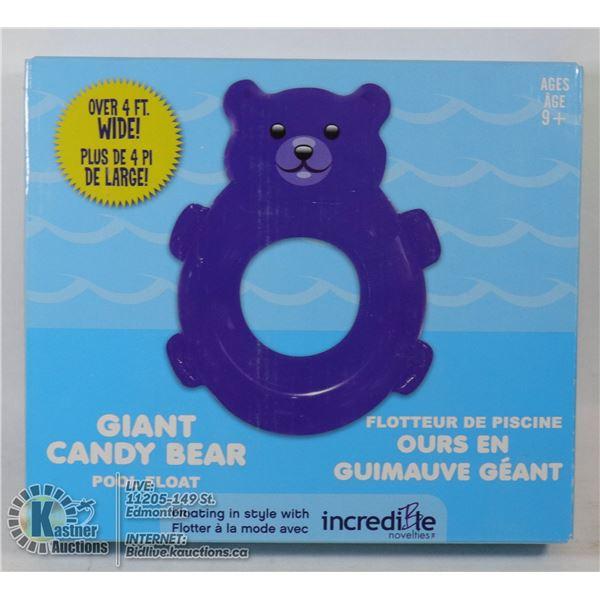 NEW PURPLE GIANT CANDY BEAR POOL FLOAT (4' WIDE)