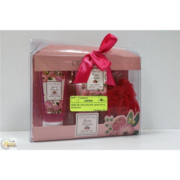 NEW 3PC OPALINE SPA  ROSE PETAL BATH SET