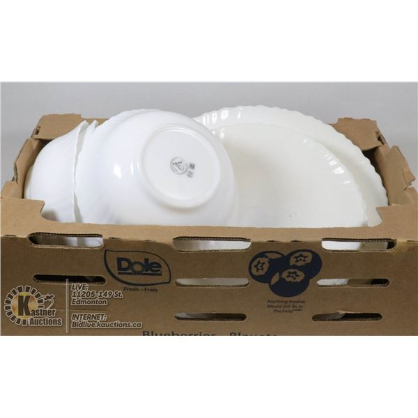 BOX OF M ART WHITE DISHES AND BOWLS