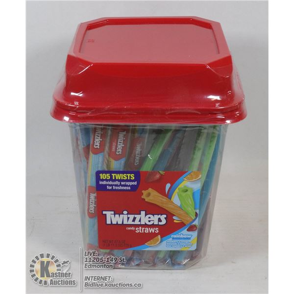 CASE OF TWIZZLERS CANDY RAINBOW STRAWS 105 INDIVID