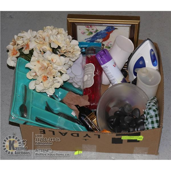 BOX WITH HOUSEHOLD ITEMS INCL 24-PC FLATWARE