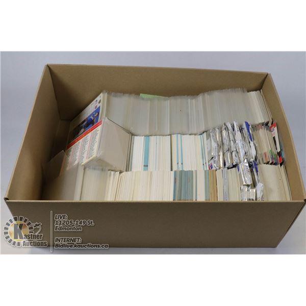 BOX OF VARIOUS HOCKEY,BASEBALL AND FOOTBALL CARDS