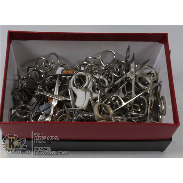 BOX OF ASSORTED SMALL SCISSORS